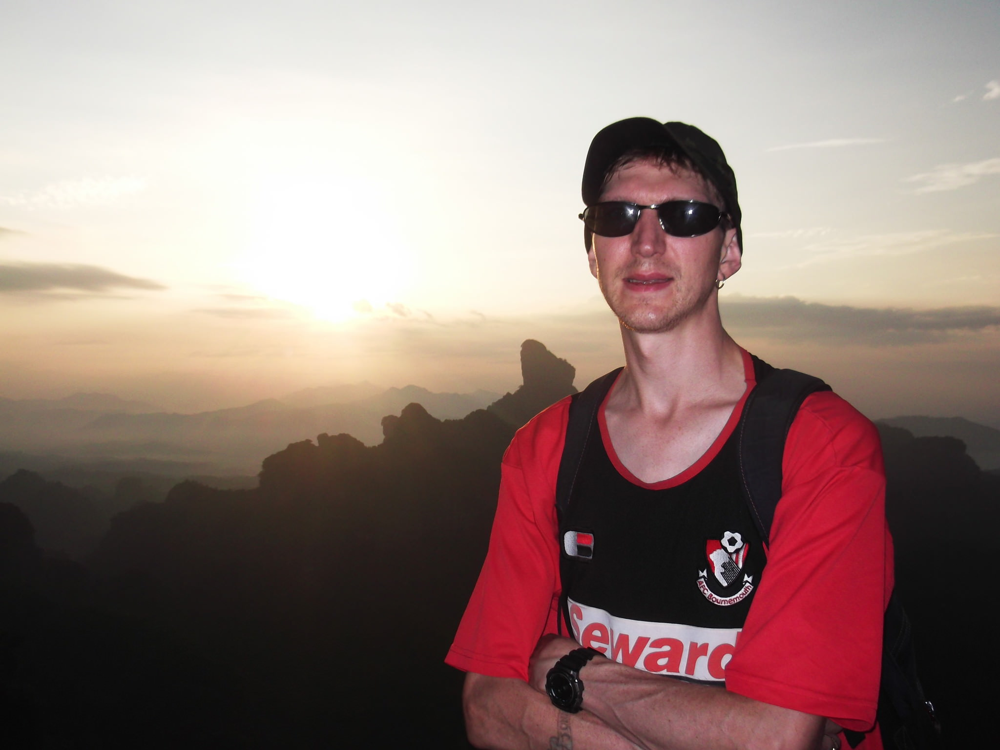 Jonny Blair enjoying sunrise at Elder Peak in China
