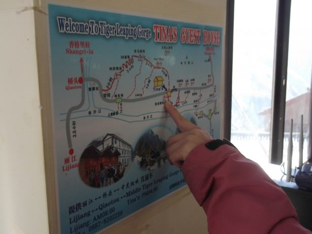 how to get from Tina's Guesthouse to Shangri La