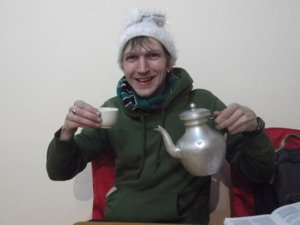 Jonny Blair lives a lifestyle of travel here trying Tibetan Yak butter tea