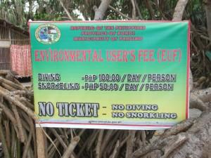 sign for tickets at Balicasag Island