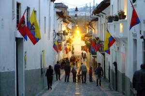 Proud Ecuadorian flags in La Ronda