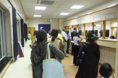 Jonny Blair at the Botswana border checkpoint in Tlokweng
