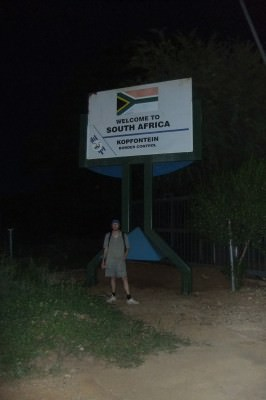 About to head across into Botswana - this is me at Kopfontein border checkpoint in South Africa
