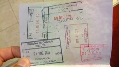 Jonny Blair passport stamps for Botswana and South Africa
