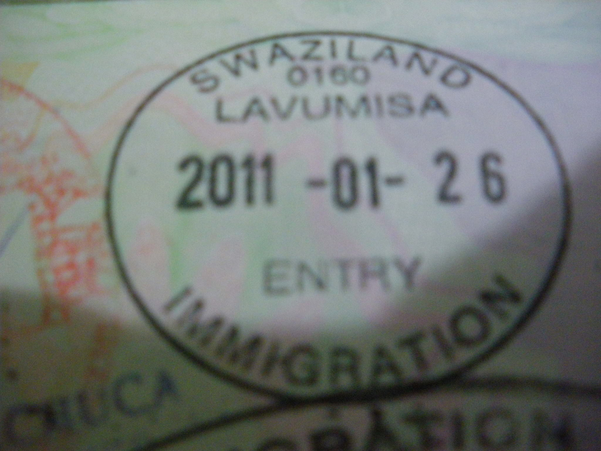 Lavumisa border stamp in Swaziland
