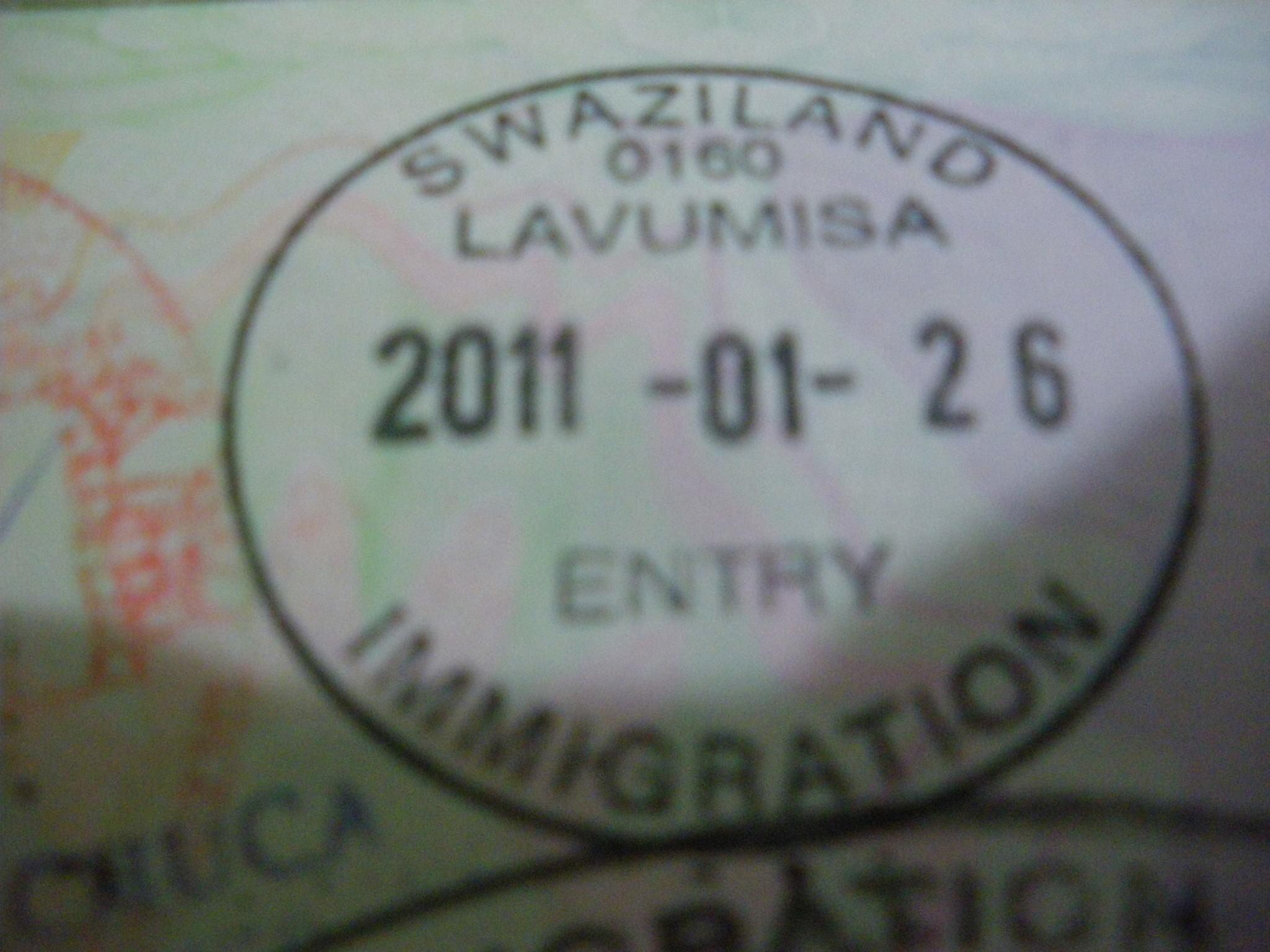 Lavumisa border stamp in Swaziland