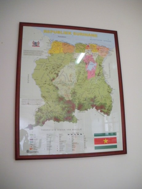 Suriname map in the embassy in Caracas