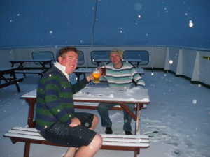 drinking beer in Antarctica