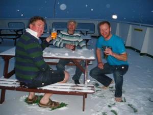 Jonny Blair Russell Sneddon Mike MacSween drinking in Antarctica