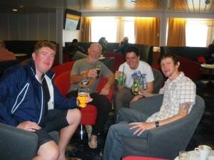 Jonny Blair drinking in Antarctica