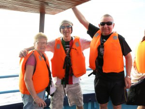 Jonny Blair and his parents whale watching in Mirissa Sri Lanka