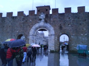 A rainy arrival into Pisa in Italy in 2009