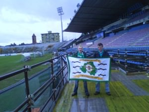 Jonny Blair and Graham Anderson fly the Northern Ireland flag in Pisa in 2009