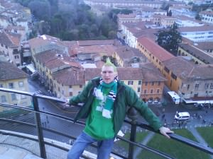 Jonny Blair overlooks Pisa from the top of the leaning tower