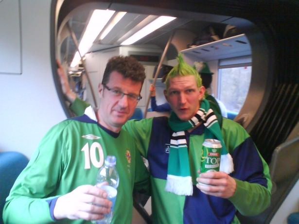 Jonny Blair and Graham Anderson of SOENISC on route to Rimini to change for San Marino