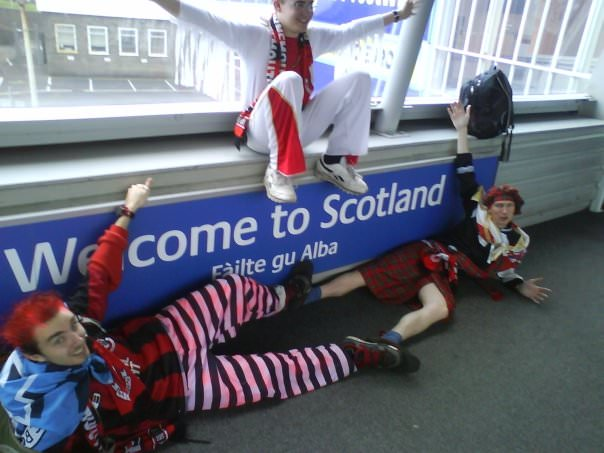 Jonny Blair Dan Darch and Neil Macey at the Scotland border