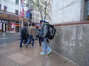 Jonny Blair backpacking in Shanghai, CHINA