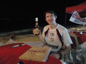 Jonny Blair with a beer on Alona Beach
