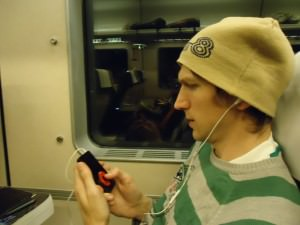 Jonny Blair using his iPod in China