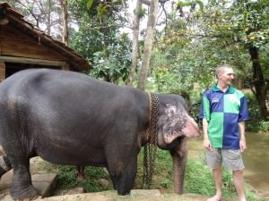 Jonny Blair and an elephant in Pinnewala Sri Lanka