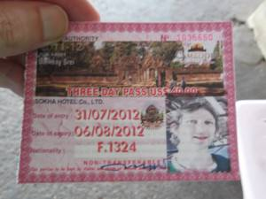 Jonny Blair ticket for Angkor Wat