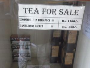 Tea for sale at Dambatenne
