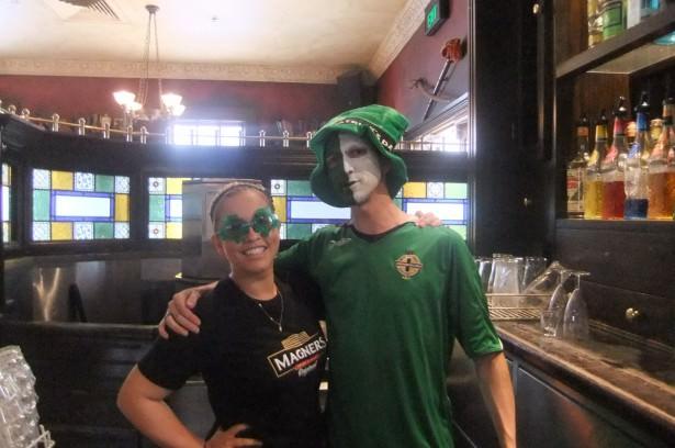 Jonny and Jacqui working in PJ's Irish Pub in Parramatta Australia