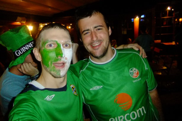 Northern Ireland and Republic of Ireland fans in Australia