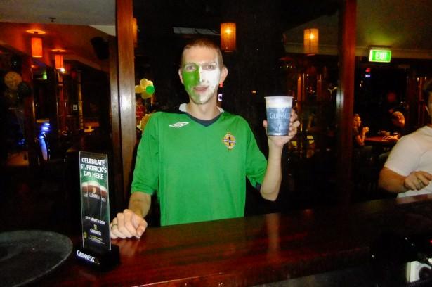 Jonny Blair having a Guinness in Australia
