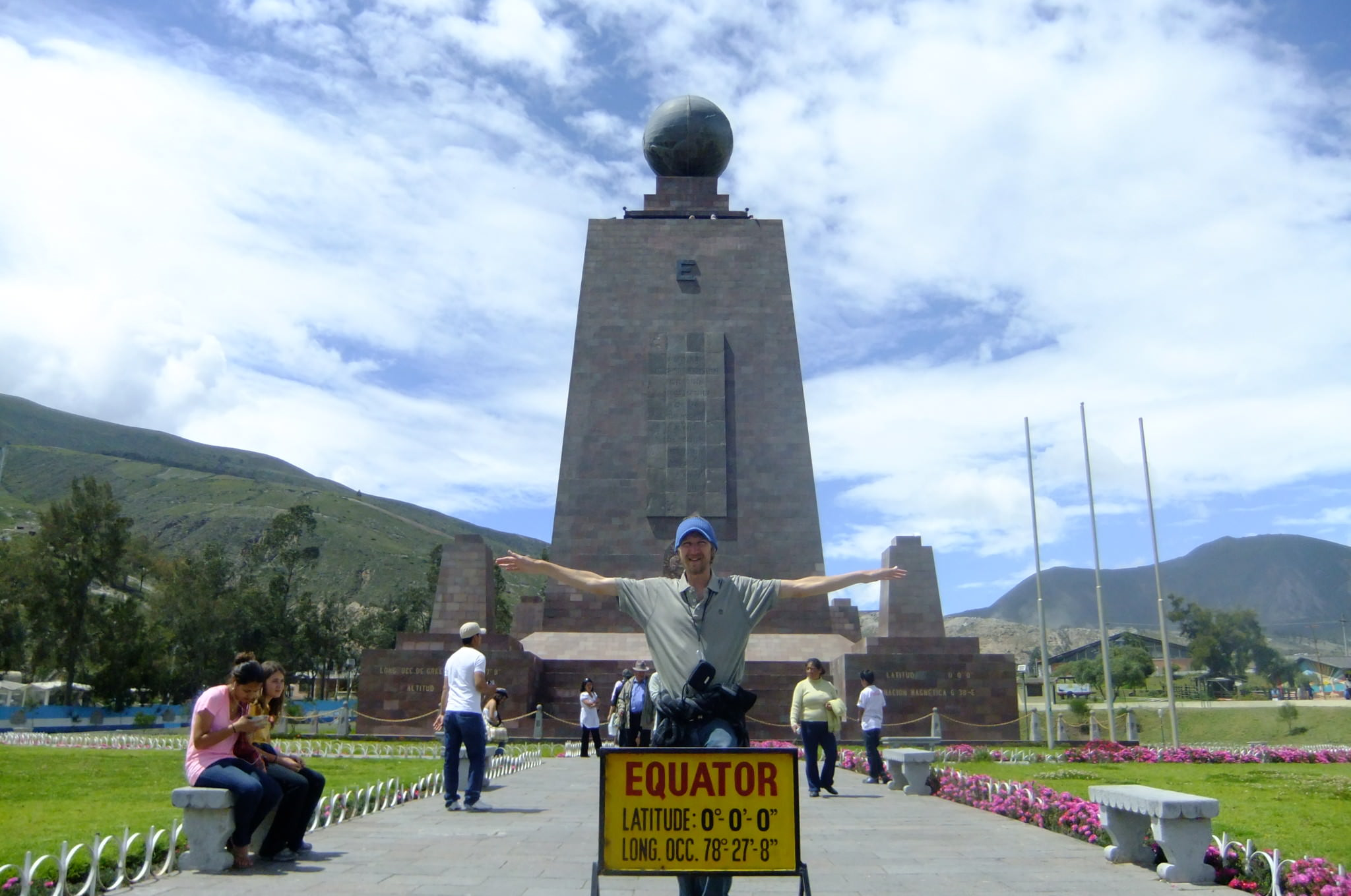 Jonny Blair stands on the equator