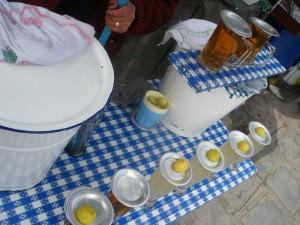 Drinking mocochinchi in La Paz Bolivia