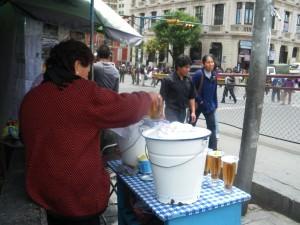 market stalls with mocochinchi in La Paz Bolivia