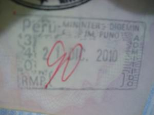 Peru passport stamp arrival at Desaguadero