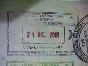 Bolivia passport stamp Desaguadero