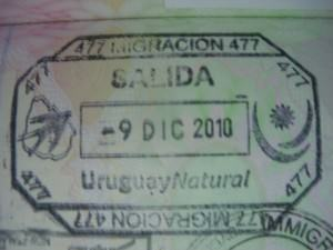 Uruguay passport stamp on Don't Stop Living