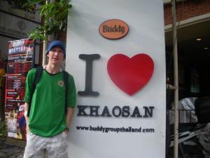 Jonny Blair in Khaosan Road in Bangkok