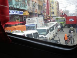 Traffic mayhem in La Paz Bolivia