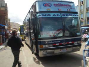 La Paz to Cusco bus waiting at the border