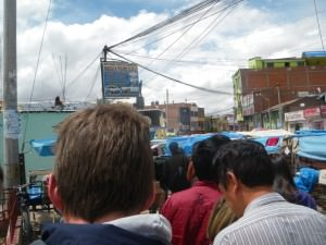 Queue for the Peru immigration at Desaguadero