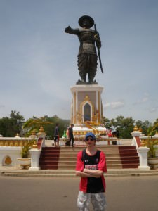 Jonny Blair in Vientiane Laos King Anouvong Statue