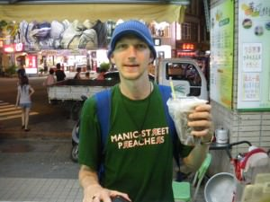 Jonny Blair the travelling Northern Irishman trying tea in Taichung