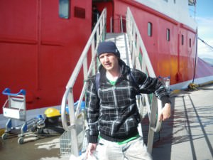 Boarding the boat for the drake passage to Antarctica