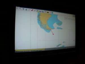 Map onboard the Antarctica cruise showing the Drake Passage