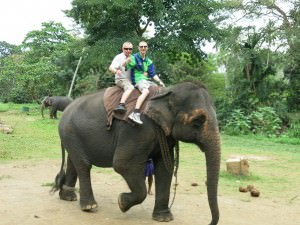 Jonny Blair elephant riding in Pinnawala in Sri Lanka