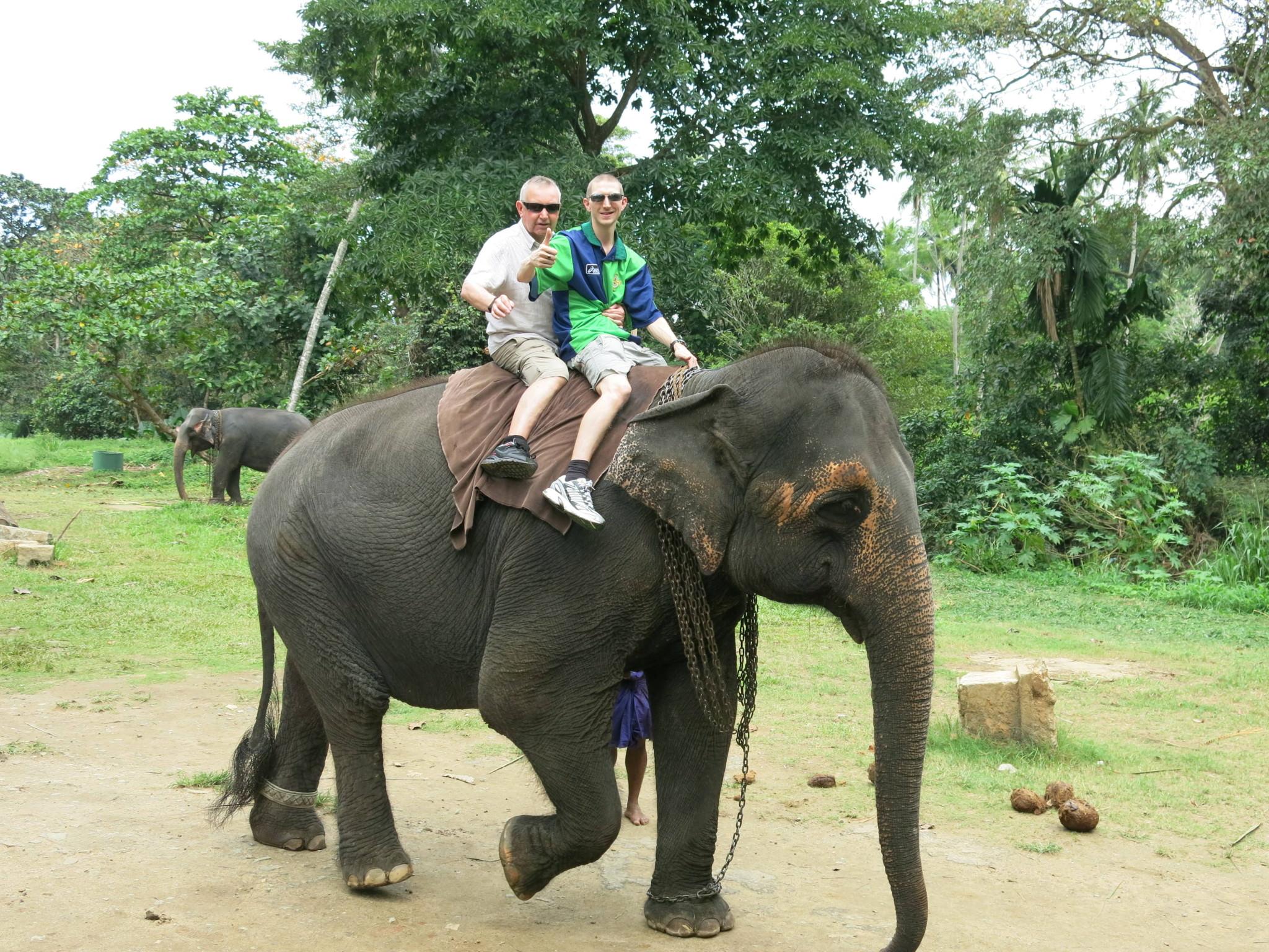 Jonny Blair elephant riding in Pinnawala in Sri Lanka