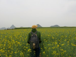 Jonny Blair in yellow fields luoping
