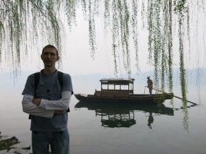 Boats on the west lake Hangzhou China