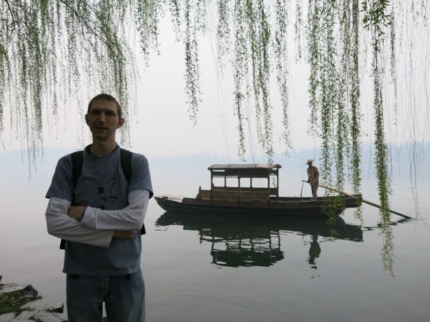 Boats on the west lake Hangzhou China
