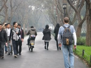 Walking round the lake in Hangzhou China with Jonny Blair