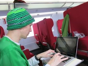 Using a laptop on Chinese trains Jonny Blair of Don't Stop Living